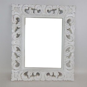 Carved Rectangle Mirror - Whitewash