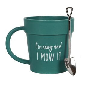 Sexy and I Mow It Green Plant Pot Mug and Spoon