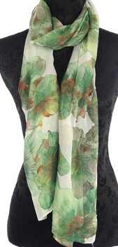 Floral Scarf - Large Floral White