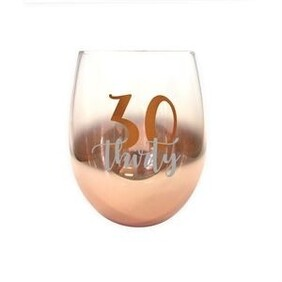 30th Ombre Stemless Wine Glass