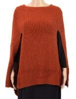 Front Slit Poncho - Rust